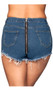 High waisted cut off soft denim shorts with zipper back, frayed trim, five pocket design, and belt loops. Button and zipper closure.