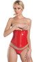 Vinyl waist cincher with front zipper closure, boning, and lace up back.
