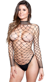 Wide fence net long sleeve bodysuit with fishnet collar and open back.