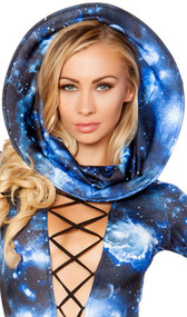 Galaxy space print wired hood. Item is essentially two wired circles with expandable fabric tube in between.
