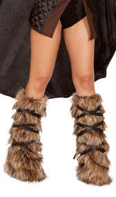 Faux fur fuzzy legwarmers with faux leather straps that wrap around and tie. Designed to fit over your own shoes or boots. Pair.