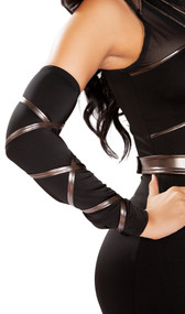 Ninja arm cuffs include stretchy arm sleeves with metallic straps that you wrap around and tie. Pair.