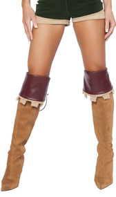 """Faux leather boot cuffs with tie back and faux suede castle themed trim. Measure about 6-1/4"""" tall including trim. Pair."""