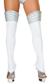 Wet look thigh high space girl leggings with iridescent silver ribbed tops and back zipper.