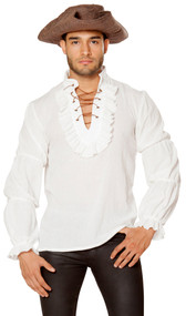 Men's long sleeve pirate style shirt with ruffled sleeves and collar, and lace up detail.