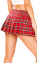 """Plaid pleated mini school girl skirt with hidden zipper. XL measures approximately 15"""" long."""