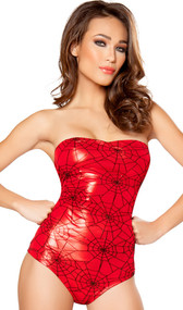 Webbed Hero costume includes strapless romper with mesh and spider web print overlay and back zipper. Crotch does not open. One piece set.