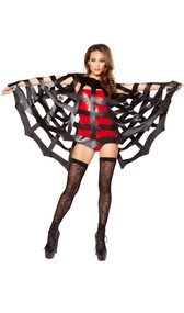 Spider web cape with neck hole. Pulls over the head like a poncho.