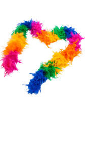 "Rainbow feather boa. 72"" long."