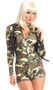Commander Cutie costume includes camouflage long sleeve zip front jumper and shoulder holster. Two piece set.