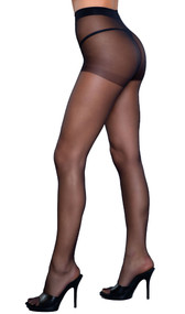 Spandex sheer to waist support pantyhose.