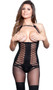 Sheer and opaque cupless bodystocking with halter neck, ruffle trim, open crotch and faux lace up underbust corset with thigh highs design.