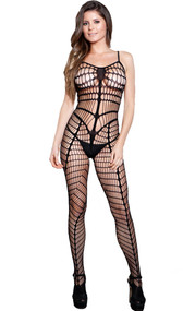 Wide net striped bodystocking with open crotch and spaghetti straps.