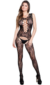 Sleeveless floral net suspender bodystocking with multiple shoulder straps, cut out front, and faux lace up detailing.