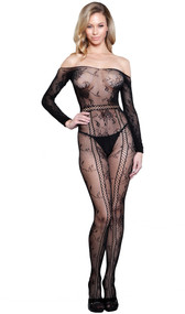 Off the shoulder floral net bodystocking with long sleeves, open crotch and cut outs featuring criss cross details.