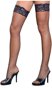 Stay up fence net thigh highs with lace tops including silicone strips.