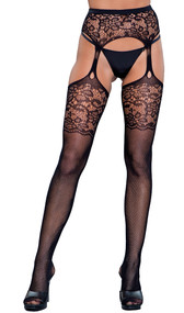 Fishnet thigh highs with lace top and attached lace teardrop garter belt.