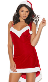 Santa's Sweetie costume includes sleeveless velvet mini dress with asymmetrical hem, adjustable straps, faux fur trim. Matching Santa hat included. Two piece set. Boots and accessories not included.