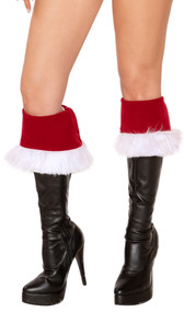 "Velvet Santa style boot cuffs with faux fur trim and tie back. Two per package. Measure about 7"" tall. Great for Christmas and holiday costumes!"