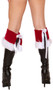 """Velvet Santa style boot cuffs with faux fur trim and tie back. Two per package. Measure about 7"""" tall. Great for Christmas and holiday costumes!"""