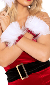 Santa style faux fur wrist cuffs with velvet trim and hook and loop closure. Pair.