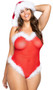 Mrs Claus sheer mesh teddy features faux fur marabou feather trim, adjustable straps, and thong back. Closed lined crotch.