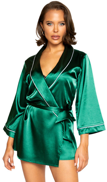 Green satin collared short length robe with satin tie closure, three quarter sleeves and contrast white trim.
