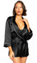 Black satin collared short length robe with satin tie closure, three quarter sleeves and contrast white trim.