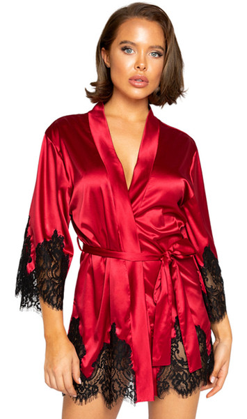 Satin short length robe with contrast eyelash lace trim cut outs, three quarter sleeves and satin tie closure.