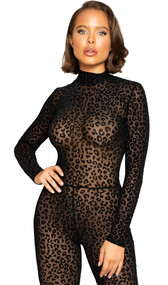 Long sleeve sheer mesh catsuit with raised soft velvet leopard print, keyhole back, mock neck with double button closure and hidden back zipper.