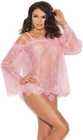 Sheer floral eyelash lace off the shoulder top with long bell sleeves, zig zag hem, ruffle trim and adjustable and detachable shoulder straps. Matching panty included. Two piece set.