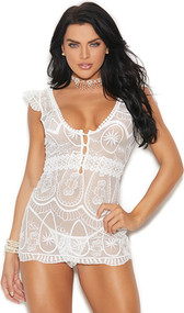 Sheer lace babydoll with scoop neck and back, front button closure and ruffled cap sleeves. Matching g-string included. Two piece set.