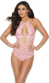 Sheer floral lace sleeveless teddy with keyhole front and back, satin band, back hook and eye closure, halter neck with clasp closure, and cheeky cut back. Unlined closed crotch.