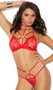 Strappy lace bralette with silver heart ring detail, adjustable shoulder straps, elastic underbust band, and collar with back hook closure. Matching double strap panty with lined crotch and cheeky cut back also included. Two piece set.