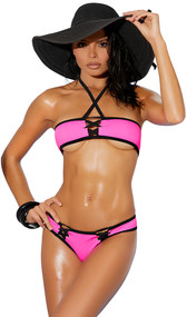 Lycra micro bandeau style bikini top with lace up front, criss cross  halter neck and contrast black trim. Matching cheeky shorts included. Two piece set.
