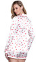 Long sleeve satin pajama set features a heart print long sleeve button up top with collar, left breast pocket and red trim. Matching drawstring shorts with elastic waist.