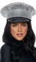 Bling patrol style cop hat with rhinestone overlay and vinyl brim. This is a rigid, non-collapsible, non-adjustable hat.