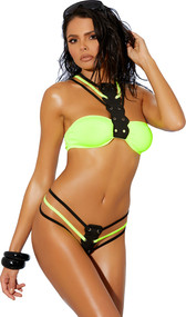 Lycra bandeau style bikini top with grommet panel leading to a strappy collar neckline, criss cross adjustable straps and hook back closure. Matching multi strap thong with o ring back also included. Two piece set.