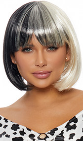 Two-toned black and white bob style wig. Short and straight with bangs.
