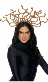 """Gold plastic headband with attached plastic snakes. Back side of snakes are hollow and open. Measures about 19-1/2"""" wide by 12-1/2"""" high. Perfect feature for any Medusa costume!"""