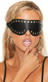 Leather blindfold with studded nail head trim and adjustable leather strap with buckle closure. Inside is leather lined with back of studs also coming through.