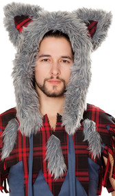 Wolf hood with faux fur trim, red plaid detail on ears and plain fabric lining.