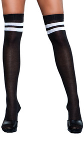 Athletic ribbed thigh high stockings with striped top.