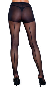 Sheer pantyhose with back seam.