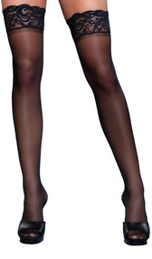 Sheer thigh highs with stay up silicone lace tops.