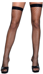 Fence net thigh highs with wide top.
