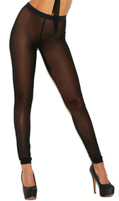 Sheer mesh leggings with stretch elastic high waistband.