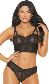 Sheer mesh and stretch Lycra cami top with underwire cups, strappy cage style front detail, adjustable straps and keyhole hook and eye back closure. Matching panty with ruched back included. Two piece set.