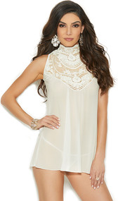 Sleeveless sheer mesh babydoll with mock neck, embroidered detail, and back button neck closure. Matching mesh g-string included. Two piece set.