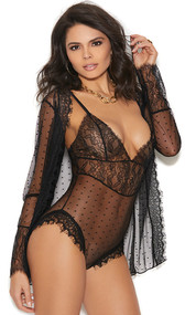 Teddy with mesh polka dot design, a lace bodice with eyelash lace hem, plunging deep V neckline and adjustable straps. Matching mesh long sleeve jacket with eyelash lace hem and open front included. Two piece set.